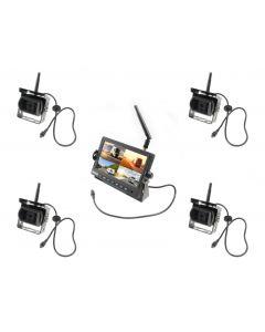 WRV-4CAM Draadloze achteruitrijcamera Kit met monitor en 4 camera's