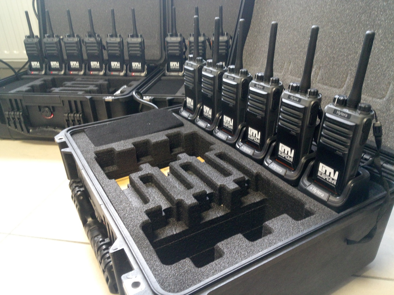 hytera pd405 dmr radios in charge case